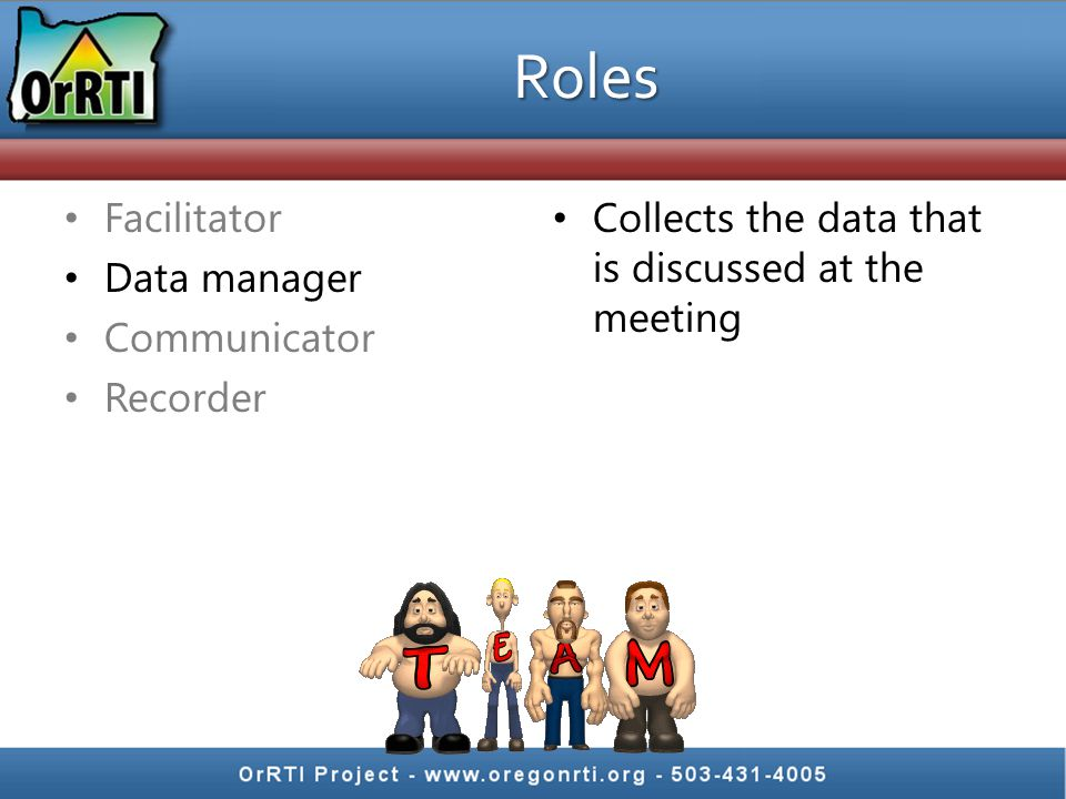 Facilitator Data manager Communicator Recorder Collects the data that is discussed at the meeting Roles