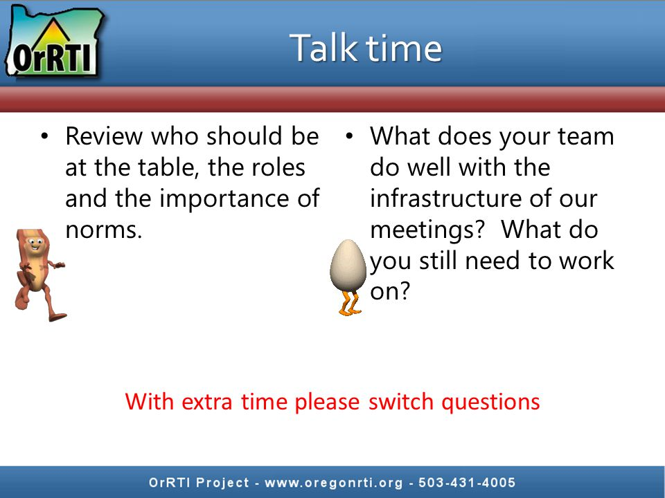 Talk time Review who should be at the table, the roles and the importance of norms.