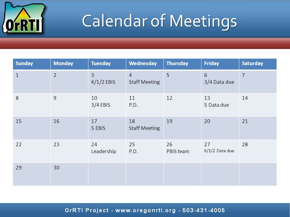 Calendar of Meetings SundayMondayTuesdayWednesdayThursdayFridaySaturday 123 K/1/2 EBIS 4 Staff Meeting 56 3/4 Data due 7 8910 3/4 EBIS 11 P.D.
