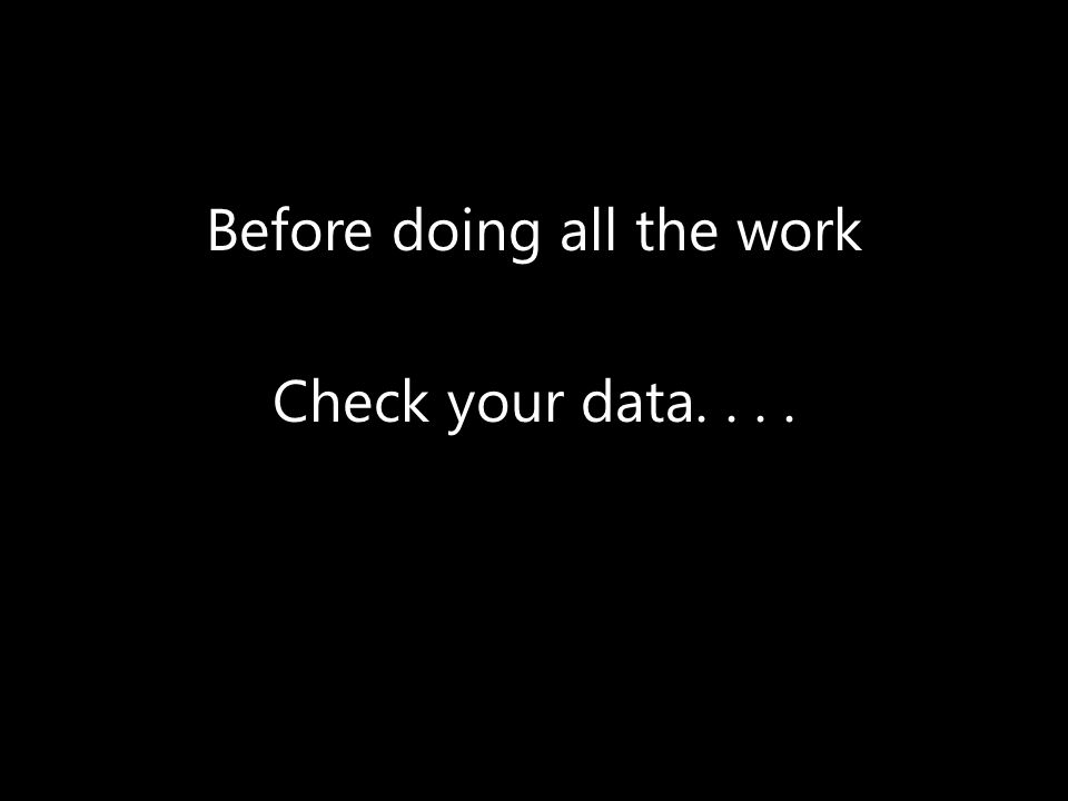 Check your data....