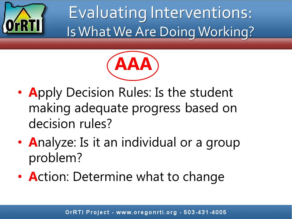 Evaluating Interventions: Is What We Are Doing Working.