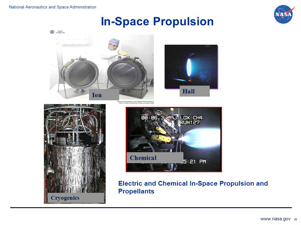 National Aeronautics and Space Administration www.nasa.gov 68 Electric and Chemical In-Space Propulsion and Propellants Ion Hall Chemical Cryogenics I