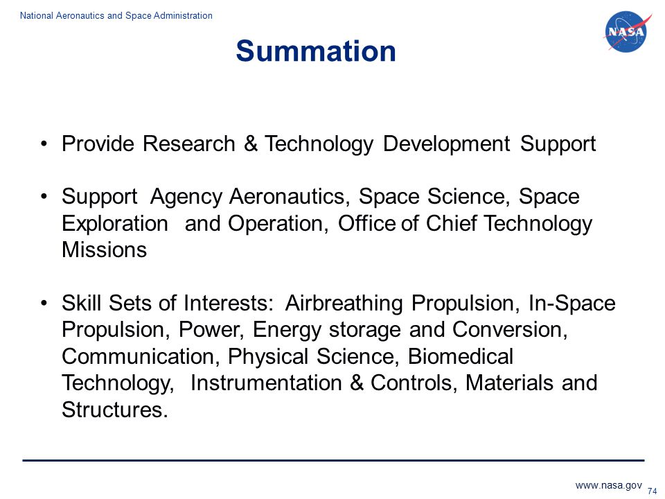 National Aeronautics and Space Administration www.nasa.gov Summation Provide Research & Technology Development Support Support Agency Aeronautics, Spa