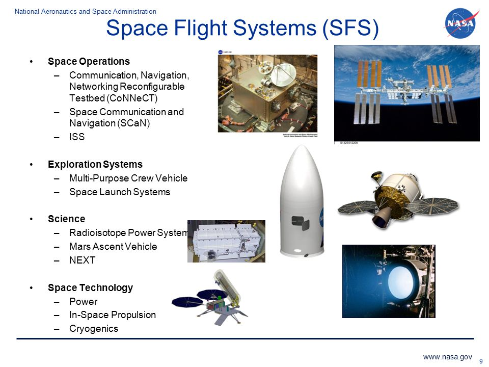 National Aeronautics and Space Administration www.nasa.gov Space Flight Systems (SFS) Space Operations –Communication, Navigation, Networking Reconfig
