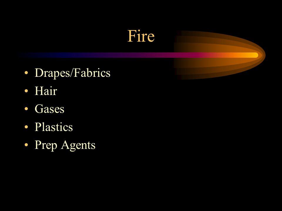 Fire Drapes/Fabrics Hair Gases Plastics Prep Agents