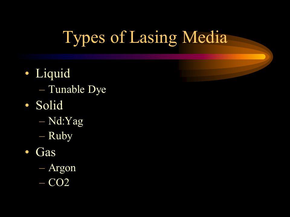Types of Lasing Media Liquid –Tunable Dye Solid –Nd:Yag –Ruby Gas –Argon –CO2