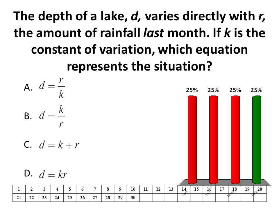 A.One B.Two C.Three D.Four The depth of a lake, d, varies directly with r, the amount of rainfall last month.