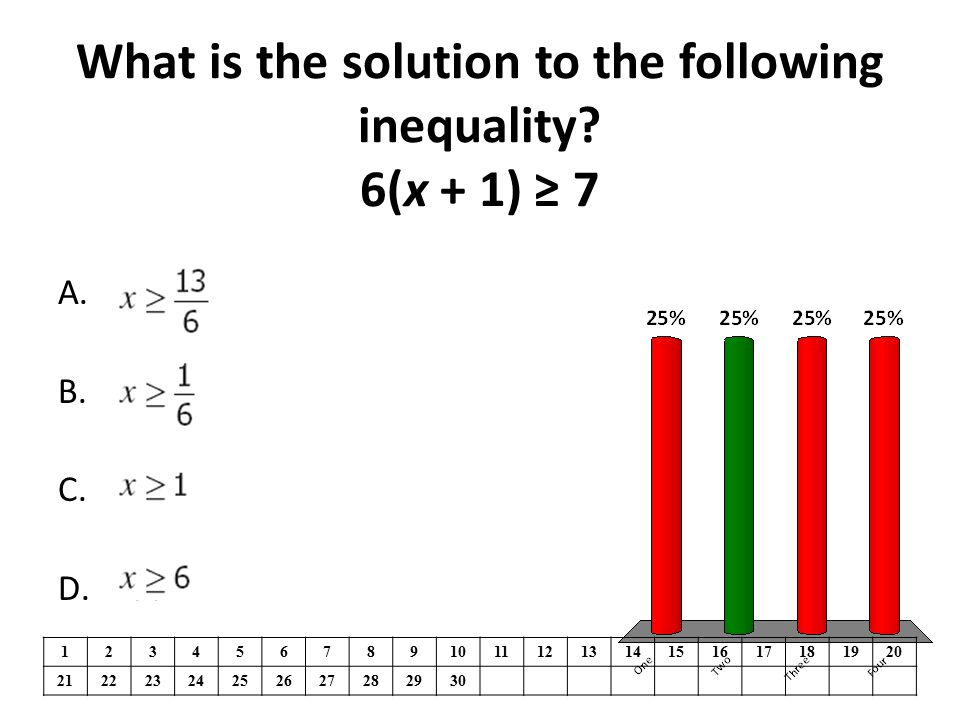 A.One B.Two C.Three D.Four What is the solution to the following inequality.