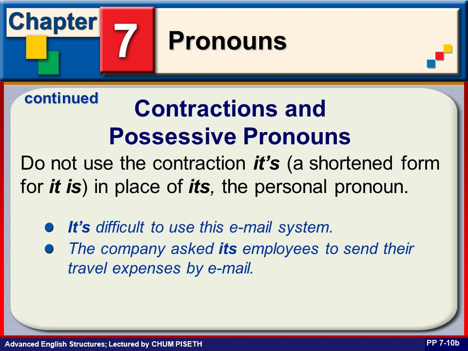 Business English at Work Pronouns Do not use the contraction it's (a shortened form for it is) in place of its, the personal pronoun.