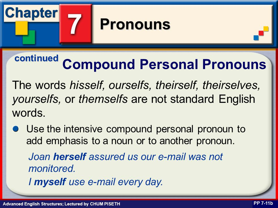 Business English at Work Pronouns Compound Personal Pronouns PP 7-11b The words hisself, ourselfs, theirself, theirselves, yourselfs, or themselfs are not standard English words.