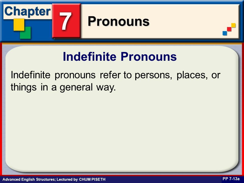 Business English at Work Pronouns Indefinite Pronouns PP 7-13a Indefinite pronouns refer to persons, places, or things in a general way.