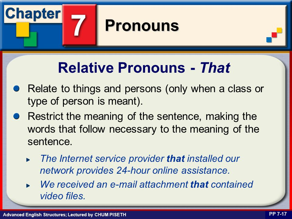 Business English at Work Pronouns Relative Pronouns - That PP 7-17 Relate to things and persons (only when a class or type of person is meant).
