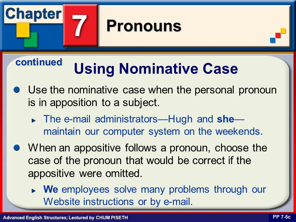 Business English at Work Pronouns Use the nominative case when the personal pronoun is in apposition to a subject.