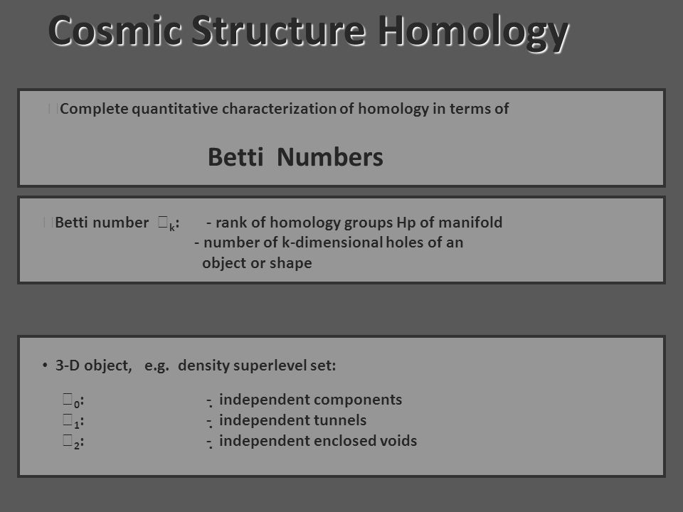 Cosmic Structure Homology Cosmic Structure Homology · Complete quantitative characterization of homology in terms of Betti Numbers · Betti number  k : - rank of homology groups Hp of manifold - number of k-dimensional holes of an object or shape 3-D object, e.g.