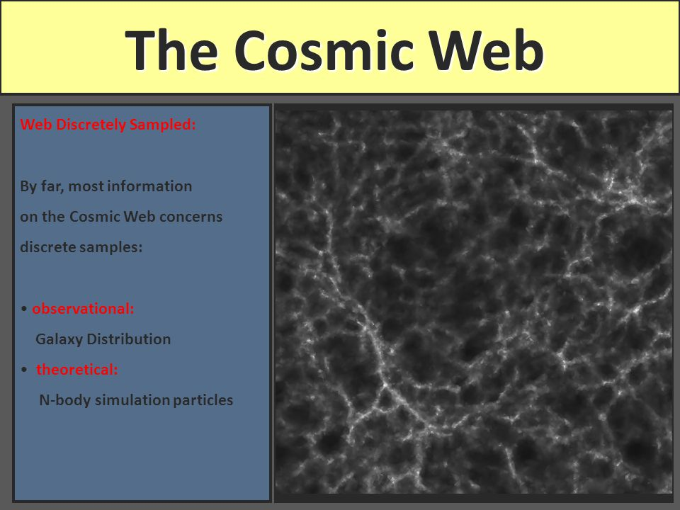 The Cosmic Web Web Discretely Sampled: By far, most information on the Cosmic Web concerns discrete samples: observational: Galaxy Distribution theoretical: N-body simulation particles