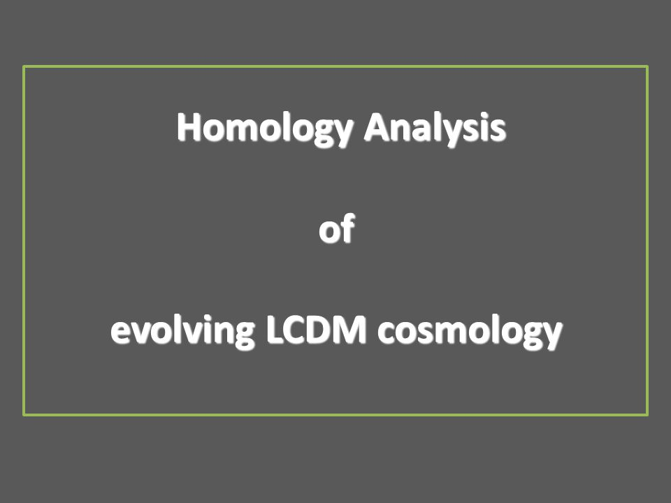 Homology Analysis of evolving LCDM cosmology Homology Analysis of evolving LCDM cosmology