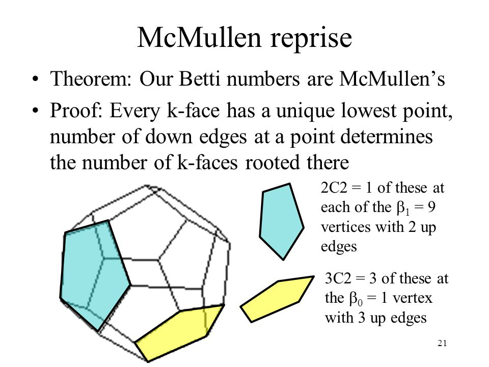 21 McMullen reprise Theorem: Our Betti numbers are McMullen's Proof: Every k-face has a unique lowest point, number of down edges at a point determines the number of k-faces rooted there 2C2 = 1 of these at each of the  1 = 9 vertices with 2 up edges 3C2 = 3 of these at the  0 = 1 vertex with 3 up edges