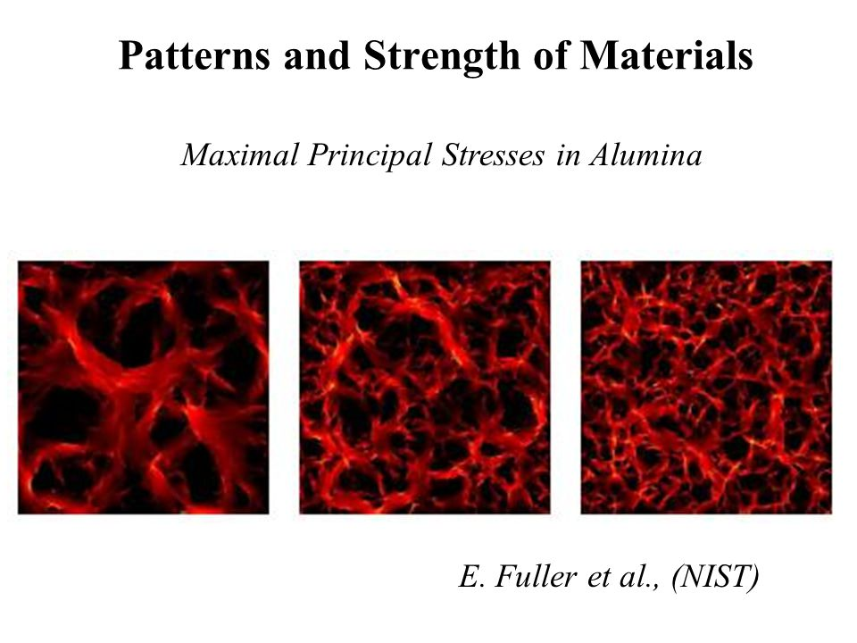 Patterns and Strength of Materials Maximal Principal Stresses in Alumina E. Fuller et al., (NIST)