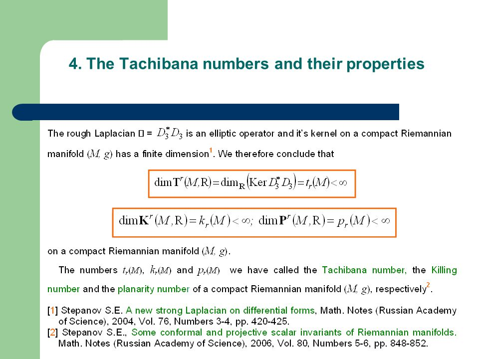 4. The Tachibana numbers and their properties