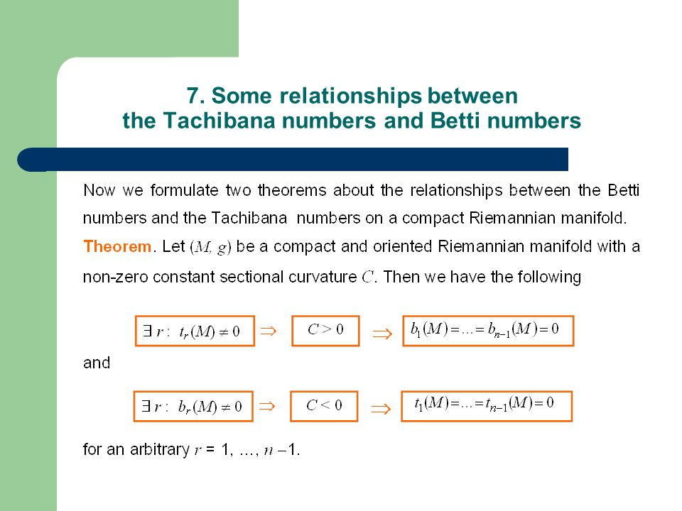 7. Some relationships between the Tachibana numbers and Betti numbers