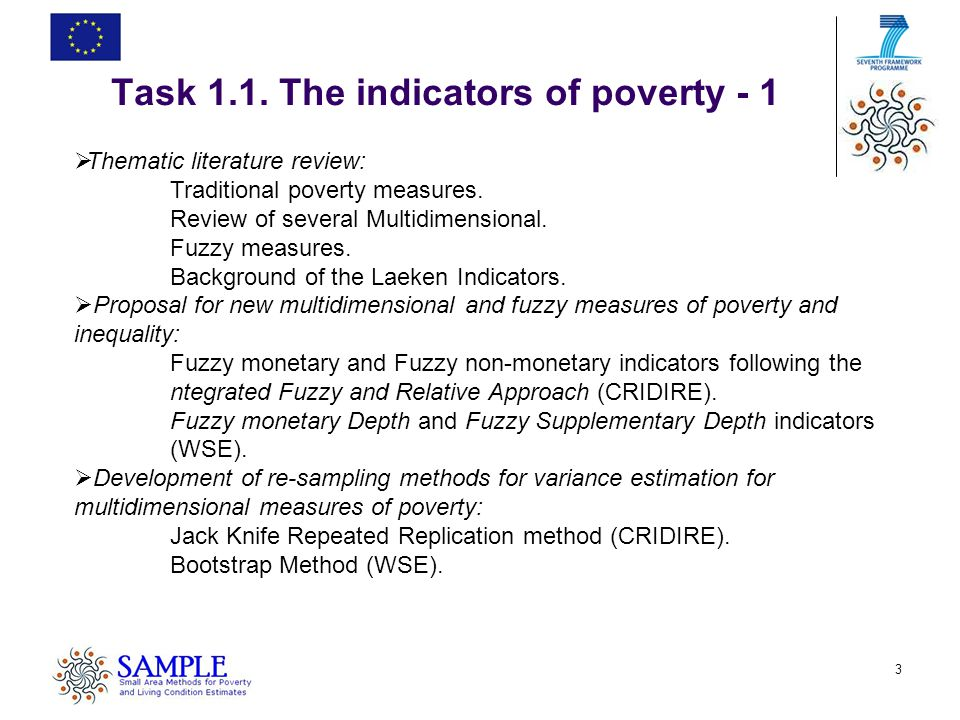 4 Poverty is a Fuzzy State It is not a discrete attribute characterised in terms of presence or absence It is rather a vague predicate that manifests itself with different shades and degrees Poor Non-poor 0 Z Y Nevertheless, traditional methods of analysis treat poverty as dichotomous variable, a simplification that wipes out all the nuances that exist between the two extremes SEVERE MATERIAL HARDSHIP HIGH WELFARE Task 1.1.