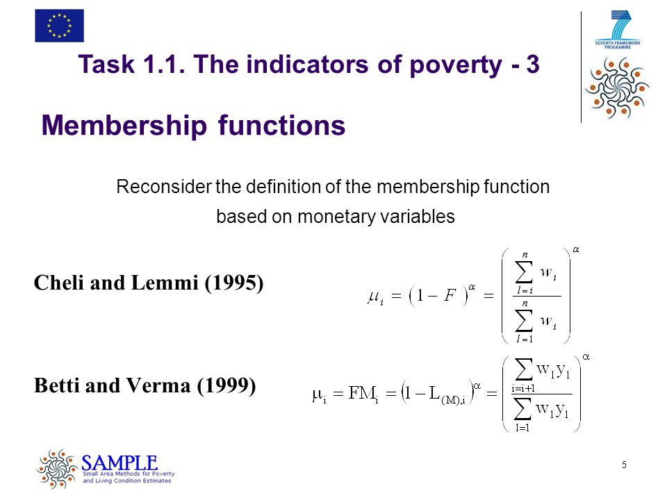 5 Membership functions Reconsider the definition of the membership function based on monetary variables Cheli and Lemmi (1995) Betti and Verma (1999) Task 1.1.