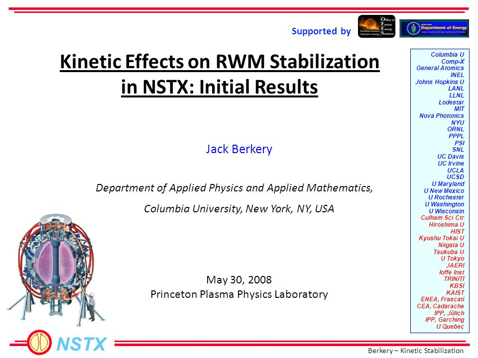 Berkery – Kinetic Stabilization NSTX Using test rotation profiles shows the behavior 128717