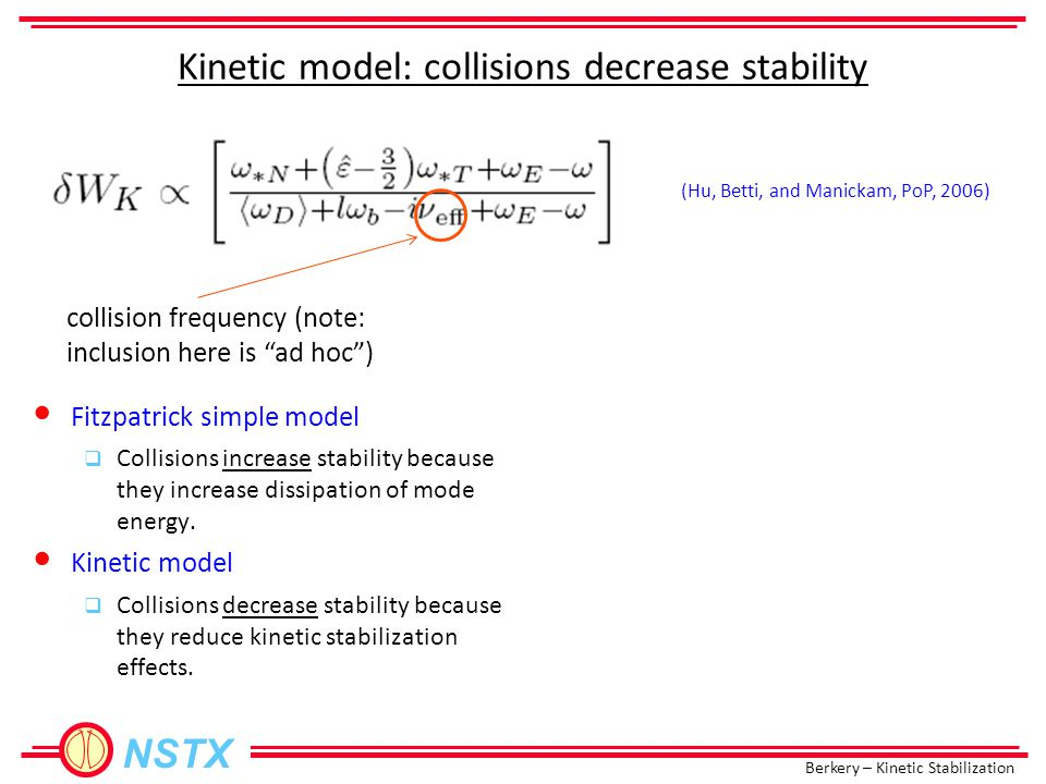 Berkery – Kinetic Stabilization NSTX Kinetic model: collisions decrease stability collision frequency (note: inclusion here is ad hoc ) Fitzpatrick simple model  Collisions increase stability because they increase dissipation of mode energy.