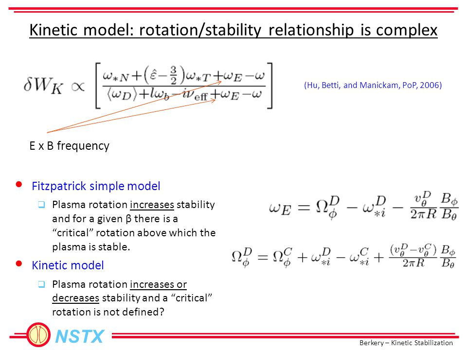 Berkery – Kinetic Stabilization NSTX Kinetic model: rotation/stability relationship is complex E x B frequency Fitzpatrick simple model  Plasma rotation increases stability and for a given β there is a critical rotation above which the plasma is stable.