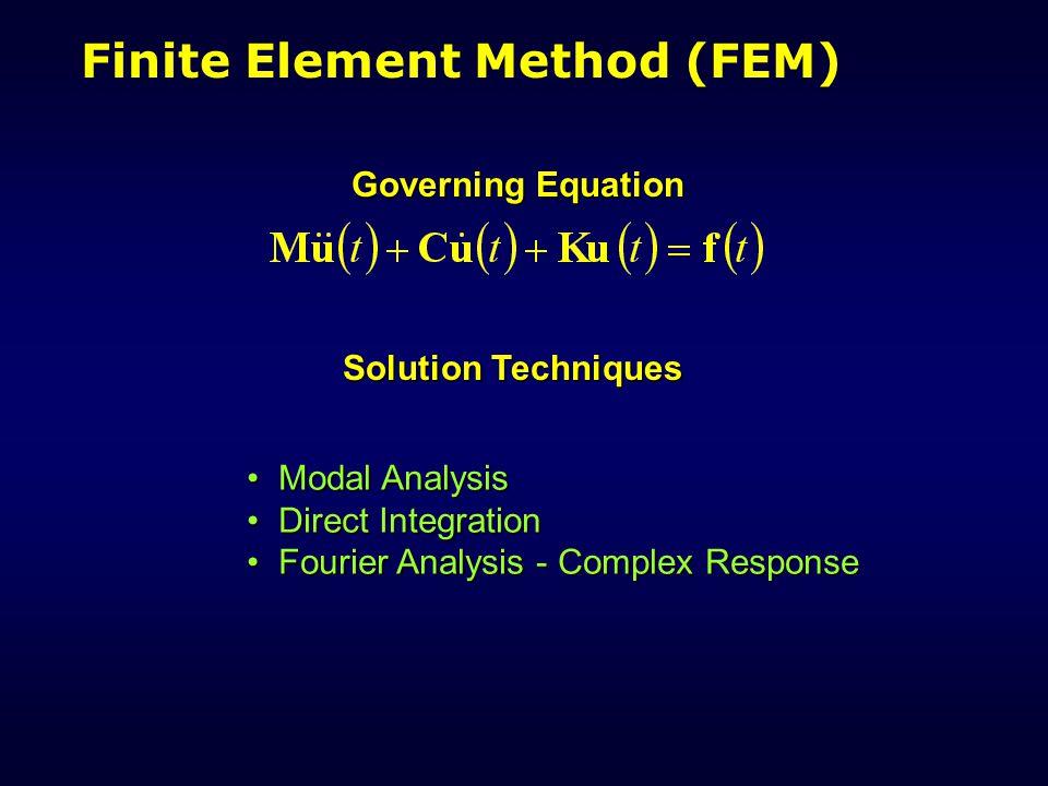 Finite Element Method (FEM) Governing Equation Modal Analysis Modal Analysis Direct Integration Direct Integration Fourier Analysis - Complex Response Fourier Analysis - Complex Response Solution Techniques