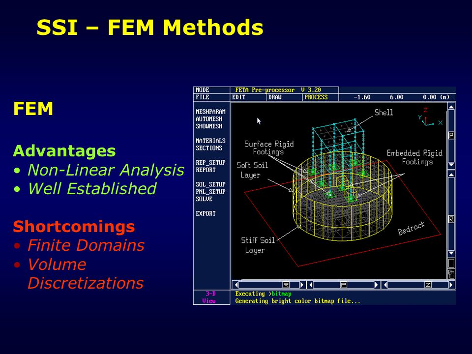 SSI – FEM Methods FEM Advantages Non-Linear Analysis Well Established Shortcomings Finite Domains Volume Discretizations