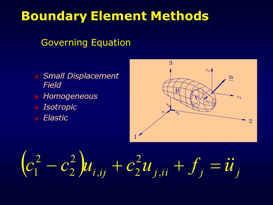 Boundary Element Methods Governing Equation Small Displacement Field Homogeneous Isotropic Elastic
