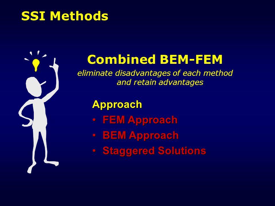 SSI Methods Combined BEM-FEM eliminate disadvantages of each method and retain advantages Approach FEM ApproachFEM Approach BEM ApproachBEM Approach Staggered SolutionsStaggered Solutions