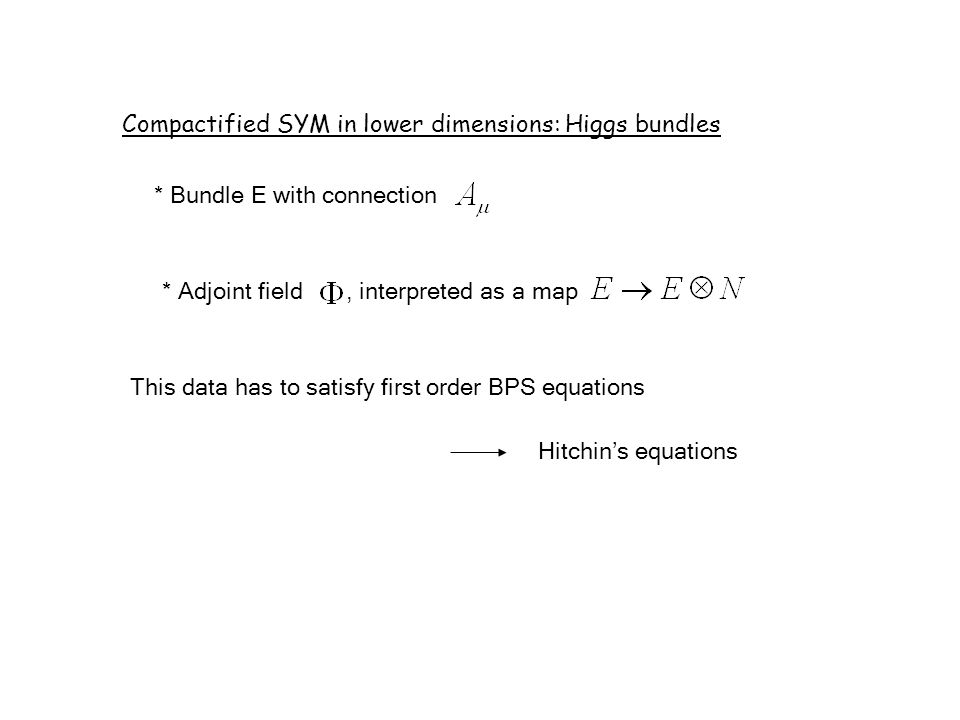 Compactified SYM in lower dimensions: Higgs bundles * Bundle E with connection * Adjoint field, interpreted as a map This data has to satisfy first order BPS equations Hitchin's equations