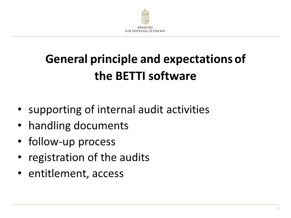 3 General principle and expectations of the BETTI software supporting of internal audit activities handling documents follow-up process registration of the audits entitlement, access
