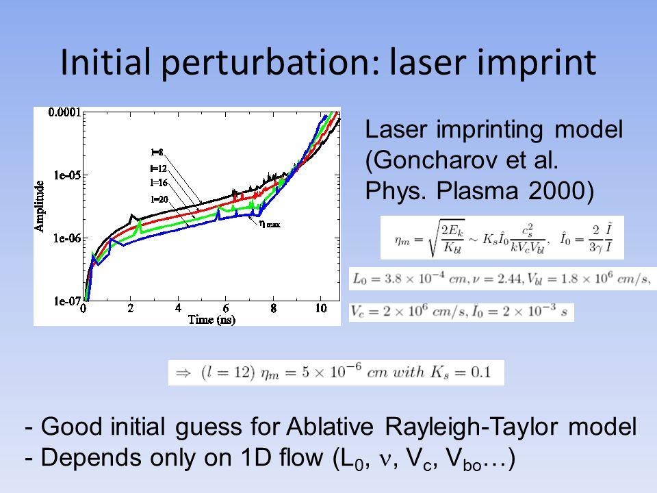 Initial perturbation: laser imprint Laser imprinting model (Goncharov et al.
