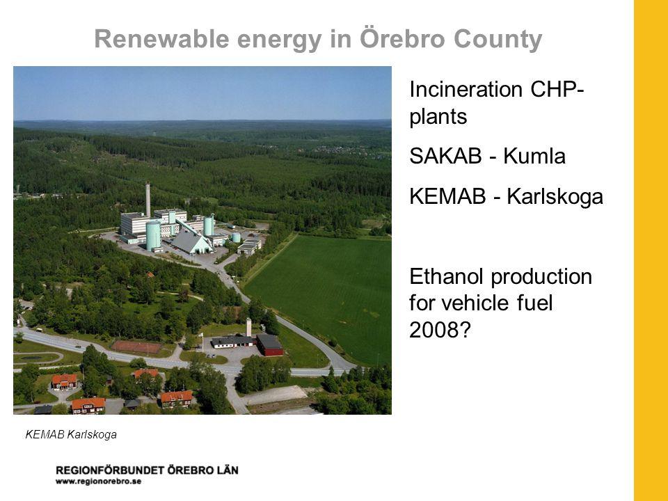 Renewable energy in Örebro County Incineration CHP- plants SAKAB - Kumla KEMAB - Karlskoga Ethanol production for vehicle fuel 2008.