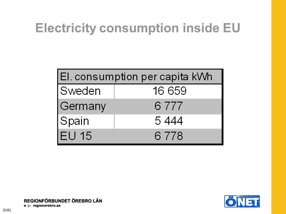 Electricity consumption inside EU SHN