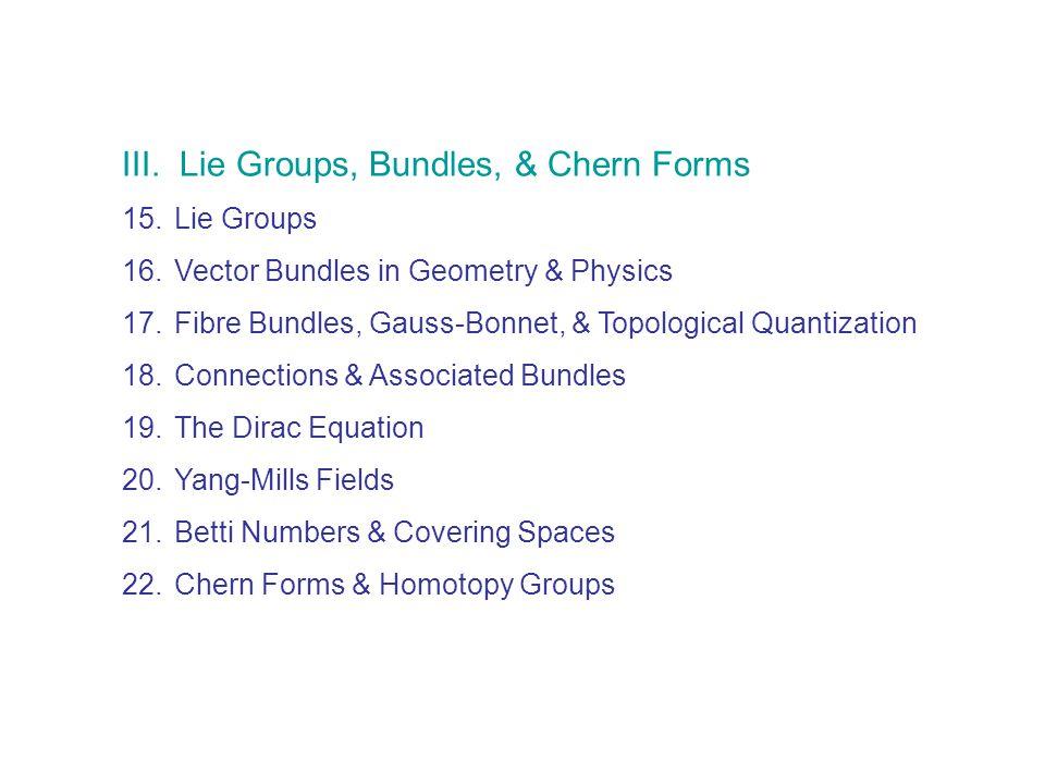 III. Lie Groups, Bundles, & Chern Forms 15.Lie Groups 16.Vector Bundles in Geometry & Physics 17.Fibre Bundles, Gauss-Bonnet, & Topological Quantizati
