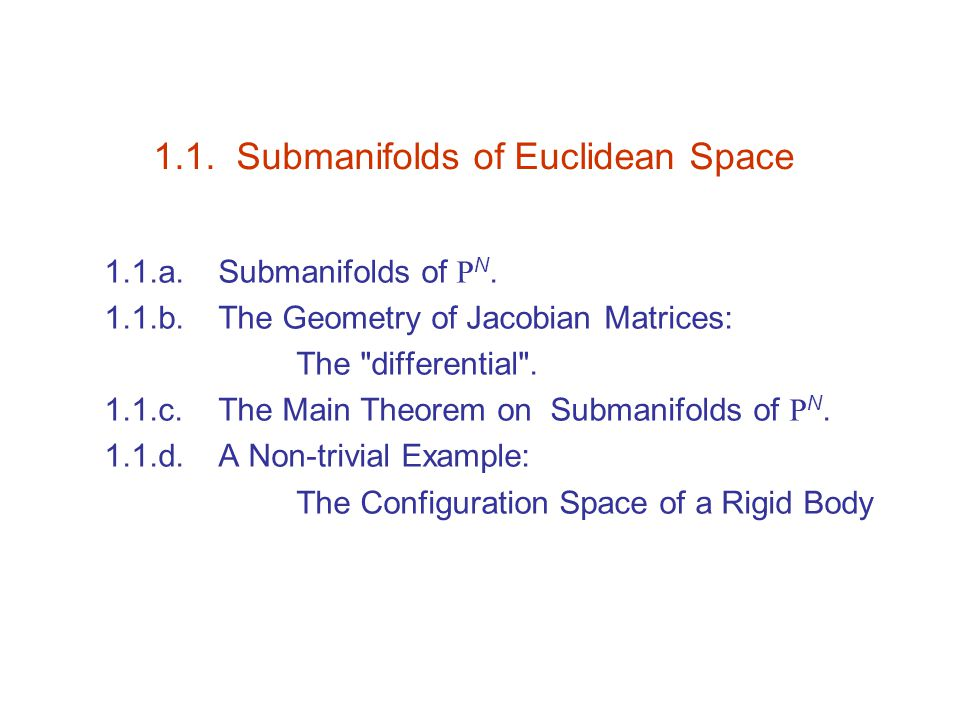 1.1. Submanifolds of Euclidean Space 1.1.a. Submanifolds of R N.