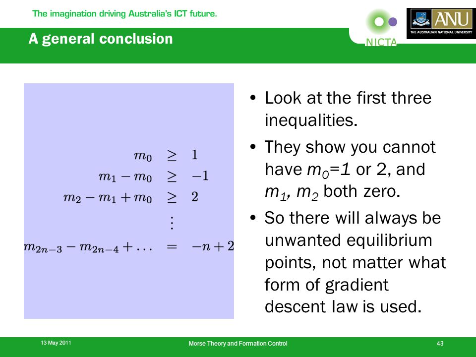A general conclusion Look at the first three inequalities.