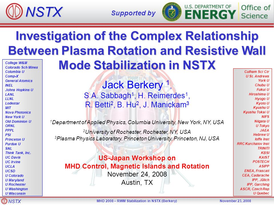 NSTX MHD 2008 – RWM Stabilization in NSTX (Berkery)November 23, 2008 Investigation of the Complex Relationship Between Plasma Rotation and Resistive W