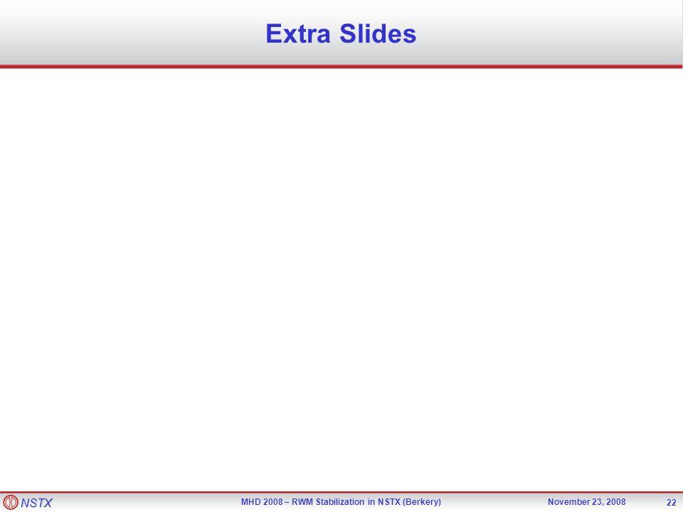 NSTX MHD 2008 – RWM Stabilization in NSTX (Berkery)November 23, 2008 22 Extra Slides