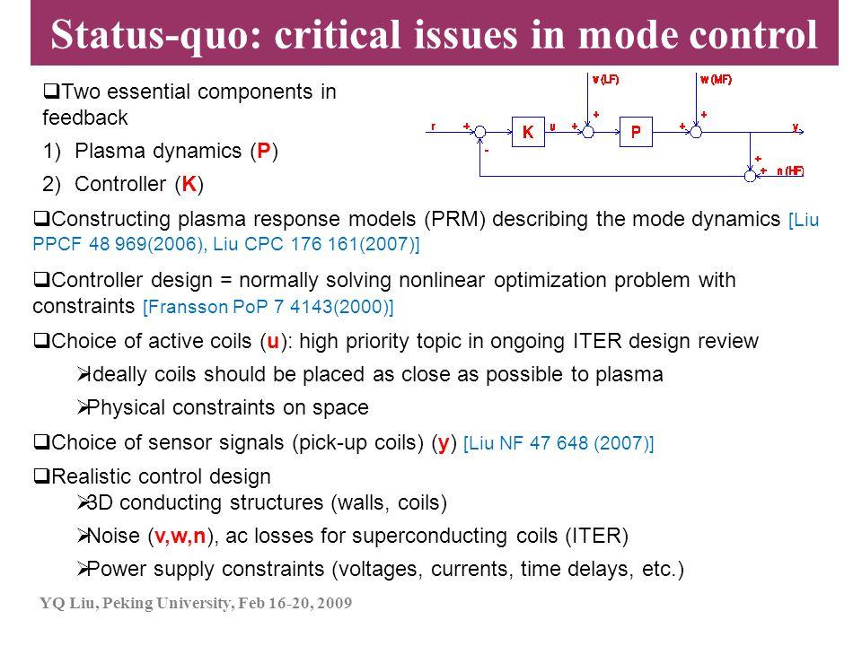 YQ Liu, Peking University, Feb 16-20, 2009  Two essential components in feedback 1)Plasma dynamics (P) 2)Controller (K)  Constructing plasma respons