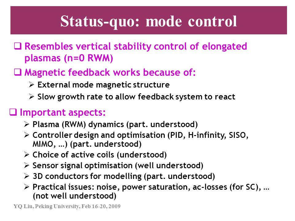 YQ Liu, Peking University, Feb 16-20, 2009 Status-quo: mode control  Resembles vertical stability control of elongated plasmas (n=0 RWM)  Magnetic f