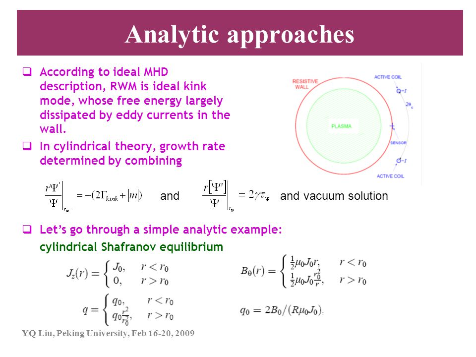 YQ Liu, Peking University, Feb 16-20, 2009 Analytic approaches  According to ideal MHD description, RWM is ideal kink mode, whose free energy largely