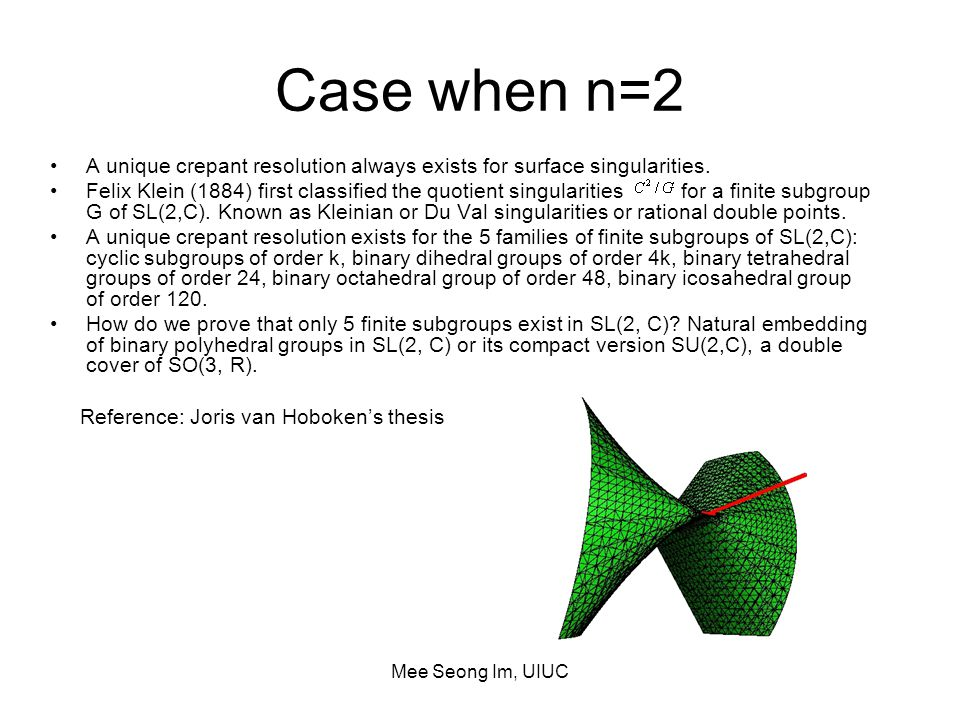 Mee Seong Im, UIUC Case when n=2 A unique crepant resolution always exists for surface singularities.