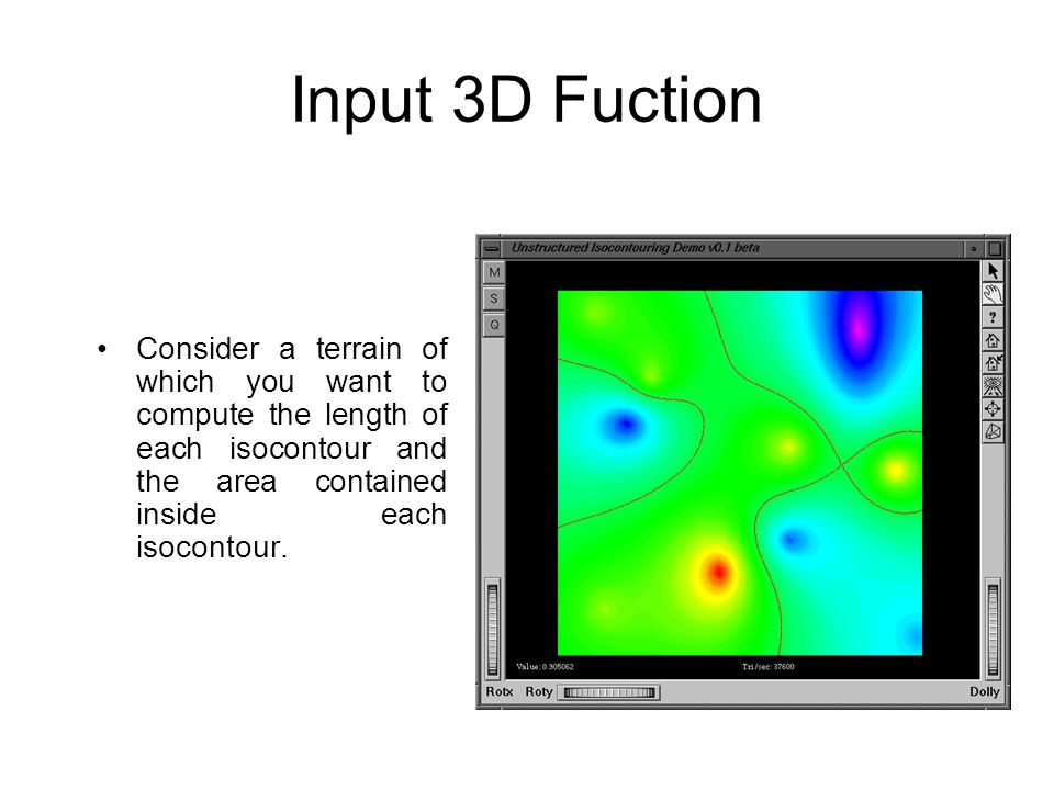 Input 3D Fuction Consider a terrain of which you want to compute the length of each isocontour and the area contained inside each isocontour.