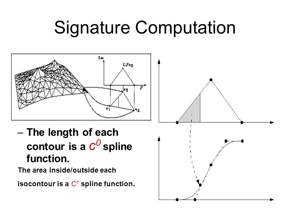 Signature Computation –The length of each contour is a c 0 spline function. The area inside/outside each isocontour is a C 1 spline function.