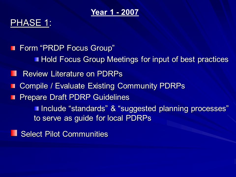 PHASE 1: Form PRDP Focus Group Form PRDP Focus Group Hold Focus Group Meetings for input of best practices Hold Focus Group Meetings for input of best practices Review Literature on PDRPs Review Literature on PDRPs Compile / Evaluate Existing Community PDRPs Compile / Evaluate Existing Community PDRPs Prepare Draft PDRP Guidelines Prepare Draft PDRP Guidelines Include standards & suggested planning processes to serve as guide for local PDRPs Include standards & suggested planning processes to serve as guide for local PDRPs Select Pilot Communities Select Pilot Communities Year 1 - 2007